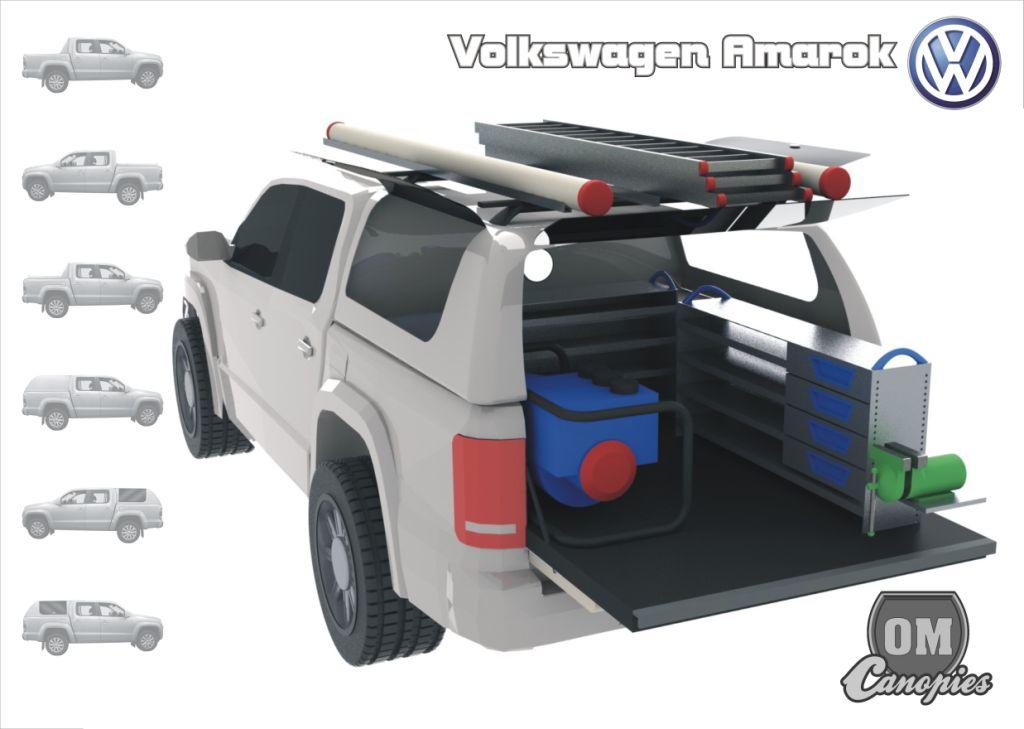 Mobilní dílna ve voze VW Amarok DC. Na voze je nástavba model Mk.III s bočními odklopnými dveřmi pro snadnější přístup do ložného prostoru vozu. Informujte se na možné varianty vestaveb.