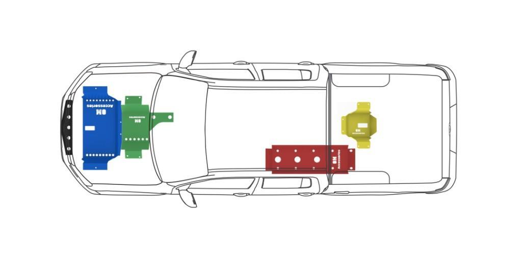 Rozmístění krytů na podvozku VW Amarok DC. Při použití celé sady krytů je ochrana podvozku Vašeho vozu dokonalá. Běžné provedení krytů je vyrobeno z ocelového plechu opatřeného zinkováním proti korozi, ale můžete si objednat i hliníkové a nebo si všechny kryty nechat nalakovat třeba na červeno. Tuto nabídku dostanete pouze na offroadman.cz, kryty vyrábí OM Canopies.